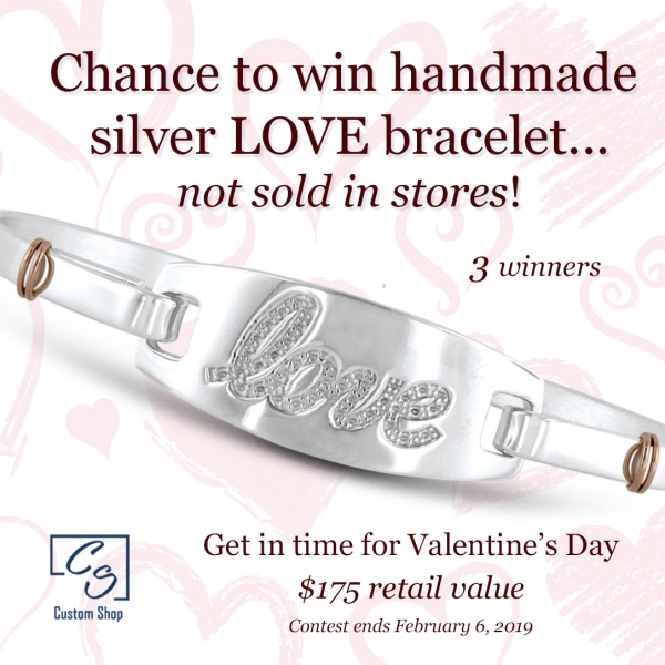 Chance to win a silver handmade LOVE bracelet