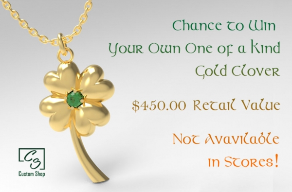 A chance to win gold clover pendant.
