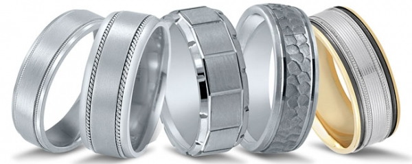 Men's wedding bands featured at Diamonds Direct