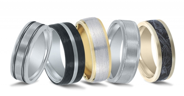 Precious metal and alternative metal wedding bands by Novell.
