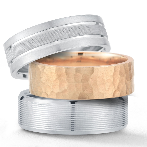 Novell men's wedding bands - available at Diamonds Direct.