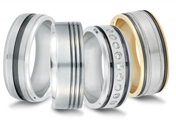 Wedding rings with black rhodium and diamonds by Novell