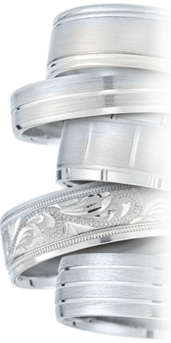 Platinum rings by Novell.