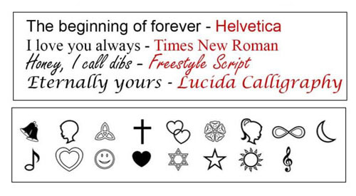 Wedding band symbols and fonts for engraving.