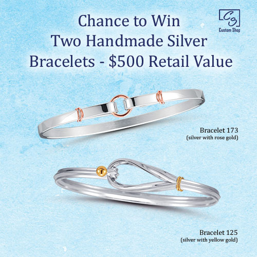 Chance to win a pair of silver and gold bracelets.