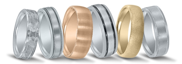 Wedding bands featured at Andrews Jewelers in Buffalo.