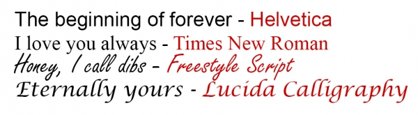 Examples of engraving fonts offered by Novell