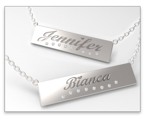 Silver nameplate necklaces with diamonds