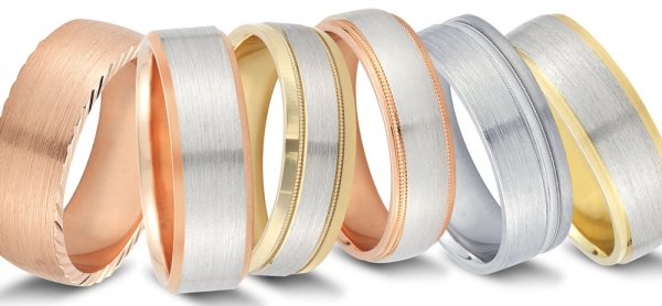 Wedding bands by Novell. In yellow pink and white gold.