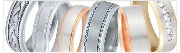 A variety of wedding bands by Novell.