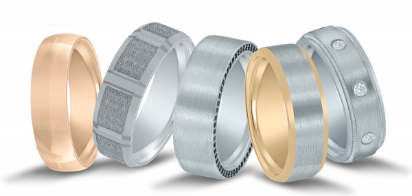 Assorted men's wedding bands by Novell