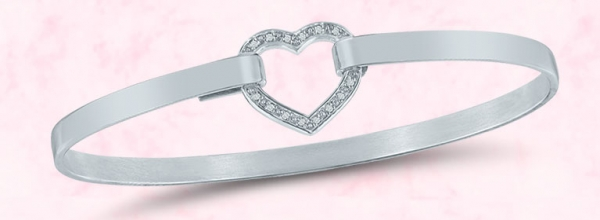 Silver and diamond heart bracelet