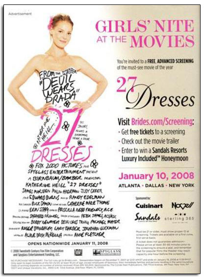 "Novell sponsored a screening for ""27 Dresses"" starring Katherine Heigl."