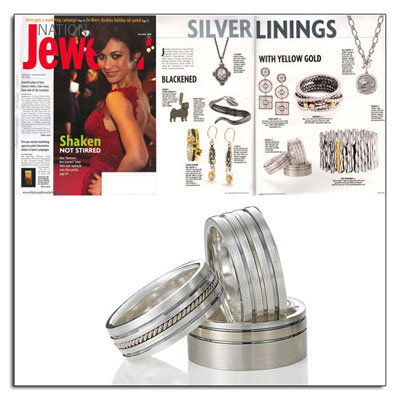 Argetium Sterling Silver wedding bands as featured in National Jeweler.