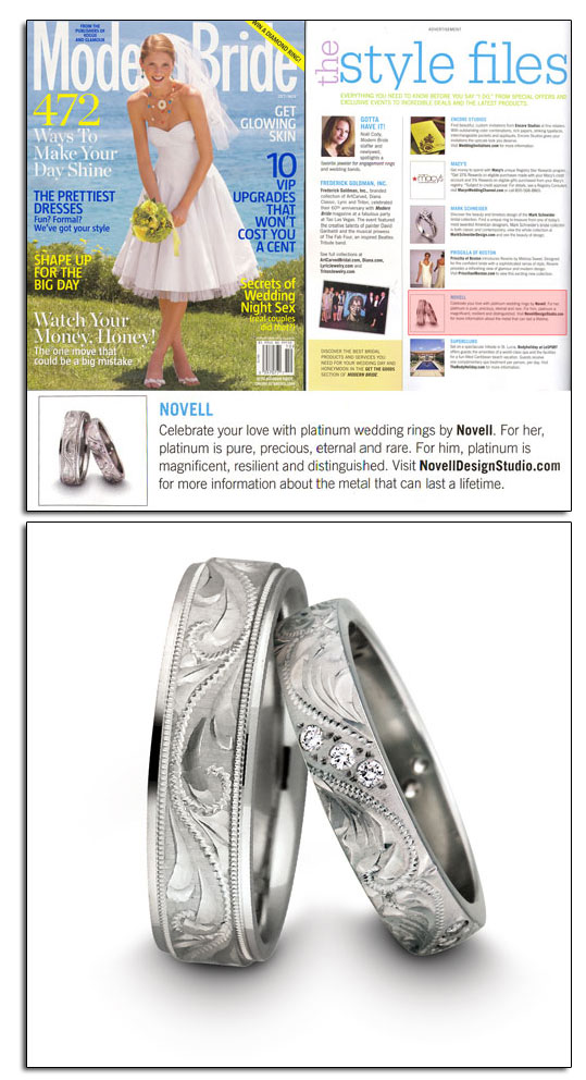 Platinum wedding bands as featured in Modern Bride.