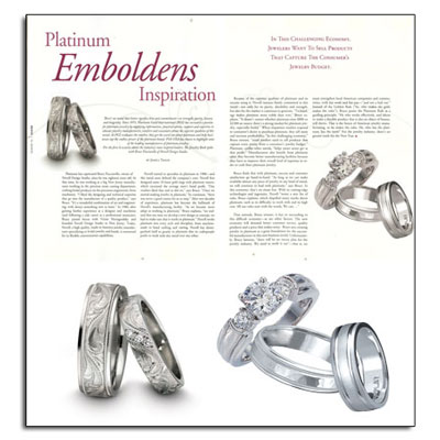 Platinum wedding bands in as featured in The Jewelry Book.