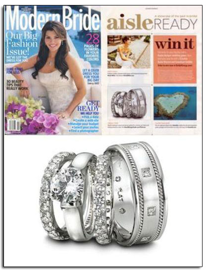 Platinum wedding bands and engagement ring featured in Brides.