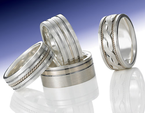 Argetium Sterling Silver wedding bands as featured in a Modern Jeweler article.