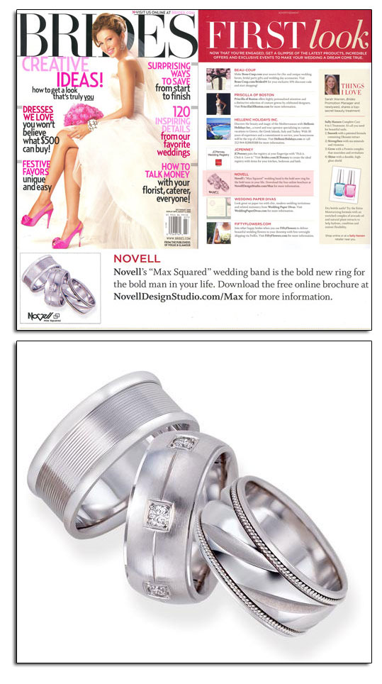 Max Squared wedding bands as featured in Brides.