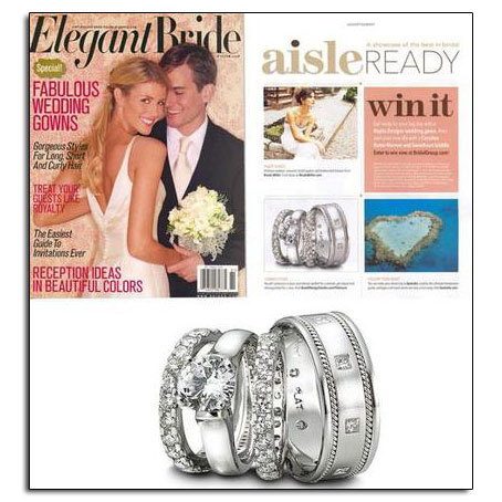 "Platinum wedding bands and engagement ring as featured in Elegant Bride's ""Aisle Ready."""