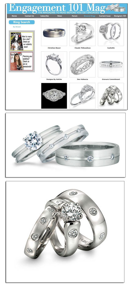 Platinum wedding bands featured on a leading bridal website.
