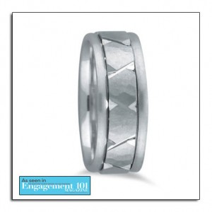 Hammered white gold wedding band as featured on a leading bridal website.