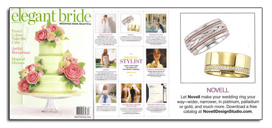Max Squared wedding bands as featured in Elegant Bride.