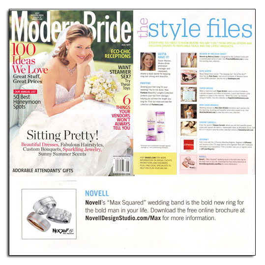 Max Squared wedding bands as featured in Modern Bride.