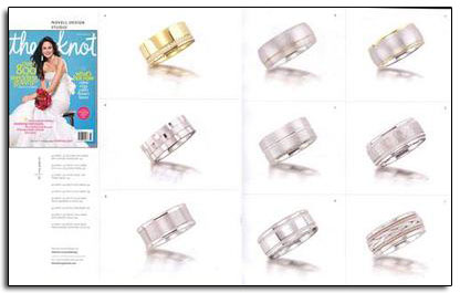 Max Squared wedding bands as featured in The Knot magazine.