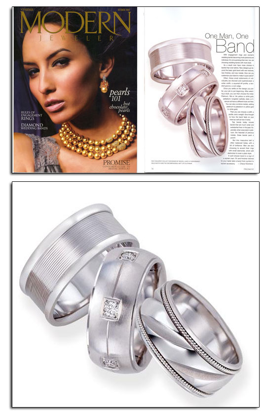 Max Squared wedding bands as featured in Modern Jeweler. BIG and BOLD wedding bands for the bold man.