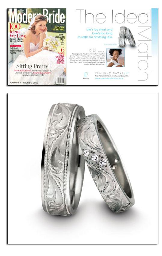 Platinum wedding bands as featured in Modern Bride.