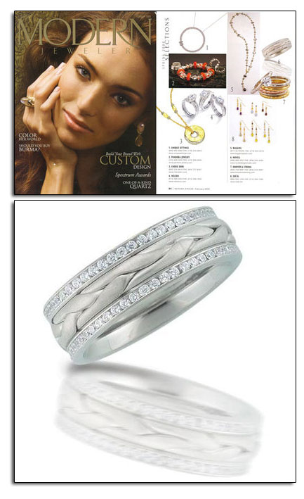 Palladium wedding band in Modern Jeweler.