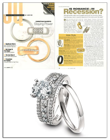 New platinum engagement ring from Novell makes its debut in JQ Magazine.