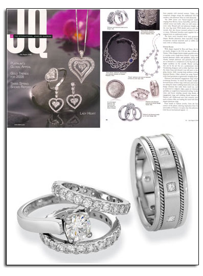 Novell platinum wedding bands as featured in JQ Magazine.