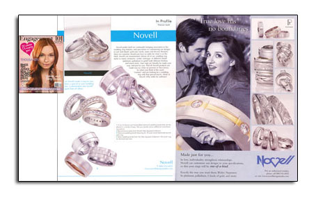 Wedding band customization highlighted in leading bridal magazine. Novell wedding bands can be created wider, narrower, in different metals, and more.