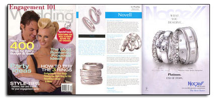 Novell wedding bands as featured in Engagement 101 Magazine.