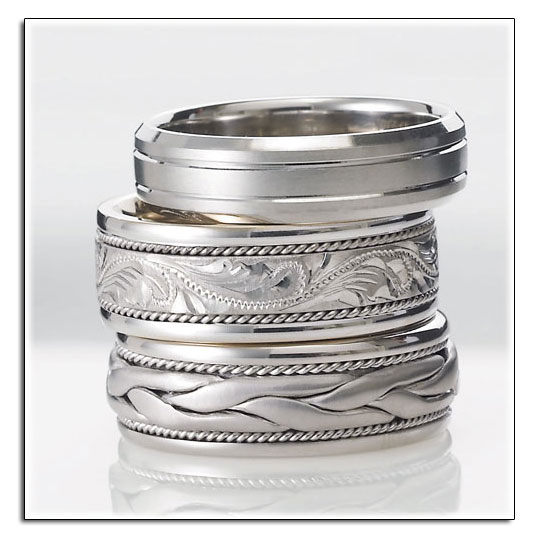 Novell wedding bands can be made wider, narrower, in different metals and much more.