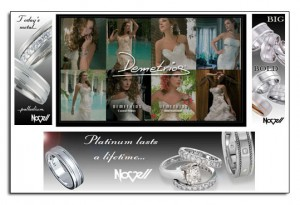 Novell wedding bands as featured on a leading bridal website - Demetrios.com.