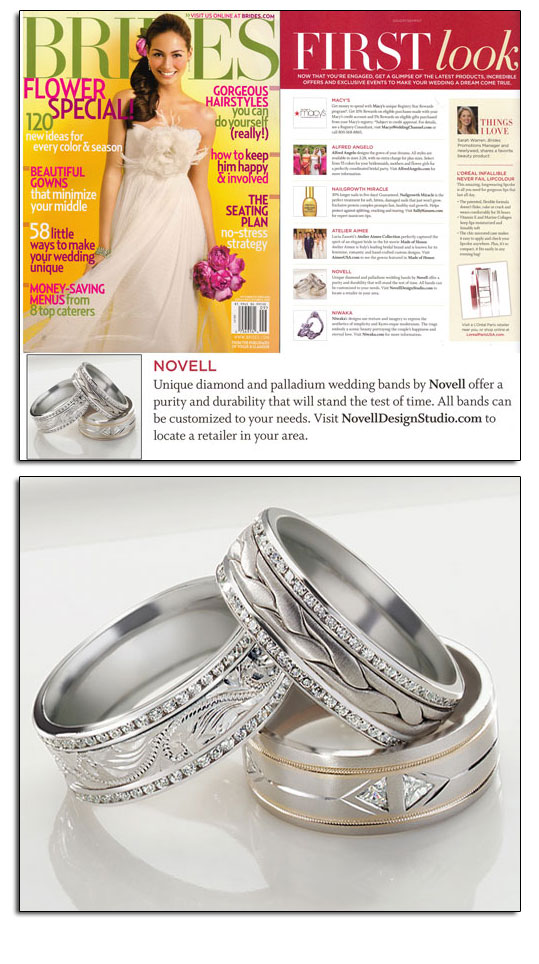 Palladium wedding bands as featured in Brides.