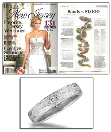 Engraved palladium wedding band as featured in local editions of Brides.