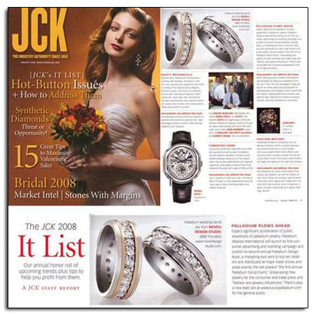 Palladium wedding bands featured in JCK.