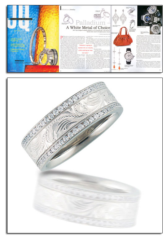 Engraved palladium wedding band with diamonds as featured in JQ.