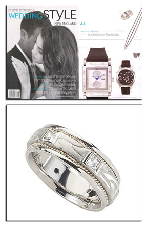 Palladium wedding band with diamonds as featured in Grace Ormond Weddings.