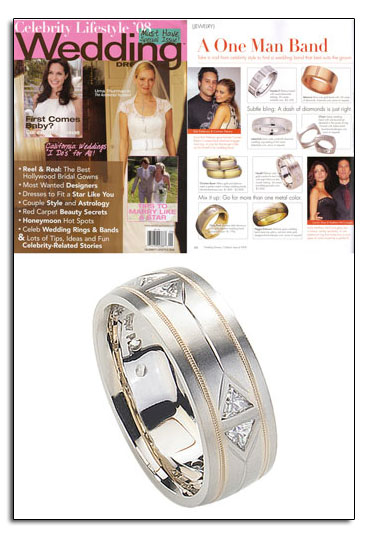 Palladium wedding band as featured in Wedding Dresses.