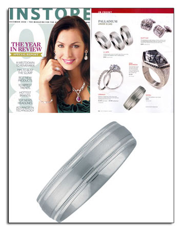 Palladium wedding band featured in In Store. Palladium is naturally white and affordable.