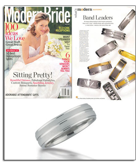 Palladium wedding band as featured in Modern Bride.