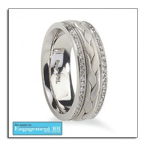 Palladium wedding band with diamonds. Palladium is an affordable white metal that will not tarnish.