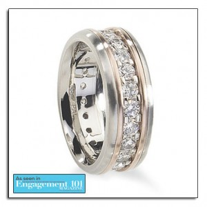 Palladium wedding band with pink gold and diamonds.