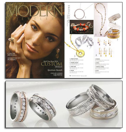 Palladium wedding bands featured in Modern Jeweler.