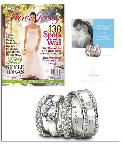 Platinum wedding bands and engagement ring featured in Brides local editions.